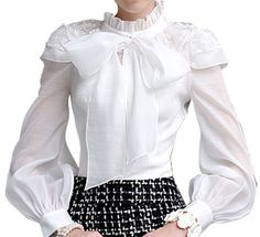 BUBBLE SLEEVE BOW & LACE ACCENT BLOUSE - WHITE – The Style Mob