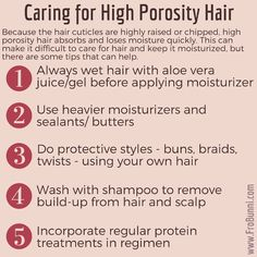 Caring for high porosity natural hair