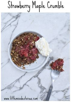Not only was I able to throw this Strawberry Maple Crumble together in no time at all, it is actually relatively healthy. The crumble packs in a good protein punch!!!!