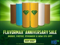 Green Smoke FlavorMax Anniversary Sale!  Coveted by e-cigarette aficionados for their clean flavor and world-class vapor production, FlavorMax Cartomizers are available in your choice of Absolute Tobacco, Menthol Ice, Mocha Mist, Smooth Chocolate, Tobacco Gold, or Red Label Tobacco flavors, and come in 5 satisfying Nicotine levels for your e-smoking pleasure. Take advantage of the anniversary savings today by clicking the link below to receive 15% OFF your Green Smoke FlavorMax cartomizer…