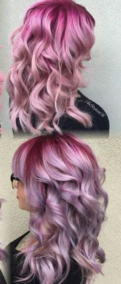 Pink pastel dyed hair color