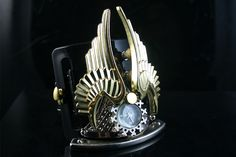 Handmade Retro Futuristic Steampunk Watch Cuff with Gold Metal Wings