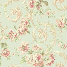 Rococco Floral Wallpaper in Blue and Peach design by York... ($43) ❤ liked on Polyvore featuring home, home decor, wallpaper, flower wallpaper, floral wallpaper, flower home decor, metallic wallpaper and york wallcoverings