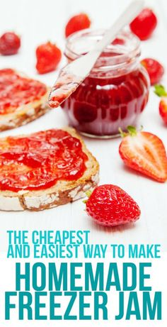 Low Unwanted Fat Cooking For Weightloss The Cheapest And Easiest Strawberry Freezer Jam Recipe. You Don't Need To Buy Pectin To Make This Delicious Freezer Jam. The Best Way To Use Up A Flat Of Strawberries Freezer Jam Recipes, Jelly Recipes, Freezer Cooking, Canning Recipes, Freezer Meals, Dessert Recipes, Drink Recipes, Rhubarb Recipes, Crockpot Meals