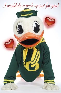 Oregon Duck mascot greeting cards available online thru The Duck Store.