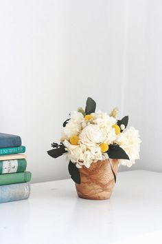 Blanca in wood modern dried floral arrangement by floresdelsol, $55.00