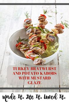 These Turkey Bratwurst and Potato Kabobs are the bomb. My family gets so excited to prep them with me or when they see me grilling them. I don't know what it is about kabobs but they are just so much more fun to eat! Delicious Dinner Recipes, Great Recipes, Yummy Food, Healthy Recipes, Savoury Recipes, Healthy Foods, Potatoes In Microwave, Skillet Potatoes, Turkey Sausage