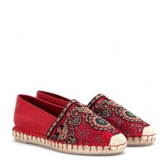 Valentino Embroidered Leather Espadrilles in Red (rosso) - Lyst Shoes Flats Sandals, Espadrille Shoes, Shoe Boots, Leather Espadrilles, Leather Sandals, Designer Espadrilles, Rockstud Shoes, Valentino Shoes, Valentino Red