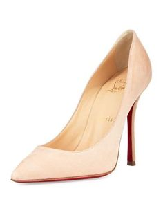 CHRISTIAN LOUBOUTIN DECOLTISH SUEDE 100MM RED SOLE PUMP, DOUDOU. #christianlouboutin #shoes #pumps