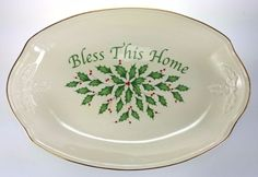Lenox Holiday Bless This Home Porcelain Serving Tray Platter NIB Christmas Holly #Lenox