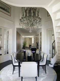 Apartment of Kenzo Takada in Paris. Crystal chandelier by Mathieu Lustrerie