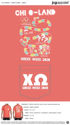 JCG Apparel designs and prints custom t-shirts and apparel. Create high quality shirts for your event, charity, sorority, fraternity, or other organization. Greek Week, Custom Design Shirts, Sorority And Fraternity, Chi Omega, Color Shorts, Comfort Colors, Candyland, Spelling, Screen Printing