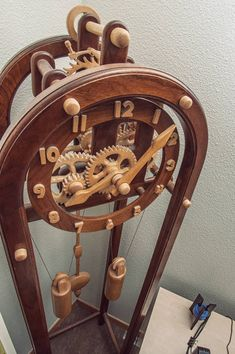 A skeleton clock my father and I made many years ago. It was the first one we ever constructed Wooden Skeleton Clock Wooden Gear Clock, Wooden Gears, Wood Clocks, Woodworking Furniture Plans, Woodworking Projects That Sell, Kids Woodworking, Skeleton Clock, Wood Projects, Deviantart