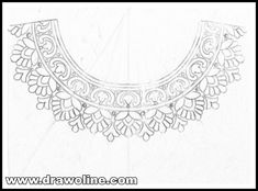 Neck designs pencil sketches for embroidery designs/kurti Neck design patterns for hand works - Draw online Indian Embroidery Designs, Kurti Embroidery Design, Floral Embroidery Patterns, Hand Work Embroidery, Embroidery Motifs, Embroidery Fashion, Machine Embroidery Designs, Mexican Embroidery, Butterfly Embroidery