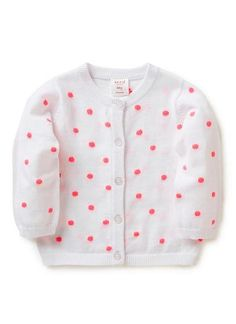 Cotton/Acrylic crew neck cardi with all over spot and raglan sleeve