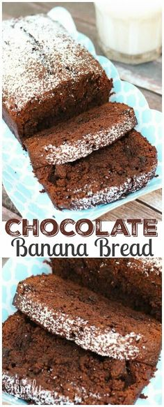 This Chocolate Banana Bread is SO moist and delicious. The recipe is incredibly easy. Only four ingredients and one of them is a brownie mix. via (Chocolate Banana Bread) Easy Banana Bread, Chocolate Banana Bread, Chocolate Cake Mixes, Chocolate Recipes, Quick Bread, Cocoa Chocolate, Just Desserts, Delicious Desserts, Yummy Food