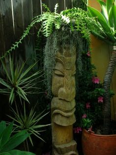 Tiki man. with a zigzag cactus for a hat.