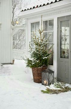 Are you searching for pictures for farmhouse christmas decor? Check this out for perfect farmhouse christmas decor inspiration. This amazing farmhouse christmas decor ideas looks entirely amazing. Christmas Porch, Noel Christmas, Outdoor Christmas Decorations, Country Christmas, Winter Christmas, Vintage Christmas, Christmas Tree In Basket, Christmas Photos, Winter Porch