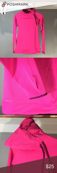Nike dry-fit top Pink top with drawstring adjustable collar Long sleeve with thumbholes and contrast sleeve binding Excellent condition Nike Tops Sweatshirts & Hoodies
