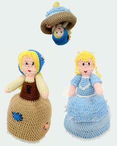 """http://www.maggiescrochet.com/cinderella-flip-doll-pattern-p-2402.html#.UOrvVbZ5Ey5 Skill Level: Intermediate Size: 13"""" tall Cinderella can transform with just a flip of the skirt, so there are no extra little pieces to tote around. Portable and perfect for playtime!"""