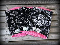 Cute! I wish I could sew. Baby Girl Burp Cloths/ Burpies in Black and by MickeyandGrace, $19.50