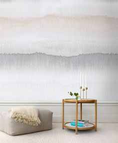 This water colour #painting creates a calm, exciting contrast wall that fits so well with cool #modern #decorating with its metal, wood and graphic look.