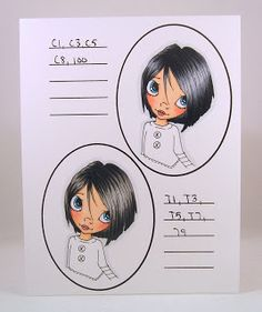 Hair Color - Copic Markers - #19 & 20 in order colored: Top: 100-C8-C5-C3-C1; Bottom: T9-T7-T5-T3-T1