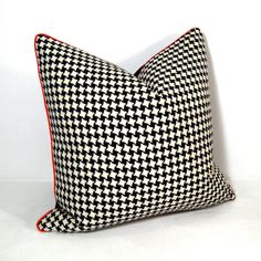 Houndstooth pillow...orange trim