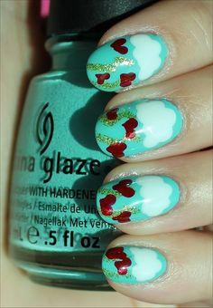 Nail Art Tutorial: Valentine's Day Nails,  Inspiring Valentine's Day Nail Art 2014 For Girls,  2014 Valentines Day Nails Art   #2014 #Valentines #day #nails #art #design www.loveitsomuch.com
