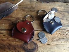 Handmade Leather Coin Pouch Keychain/ Key Fob Hand by GritsNHokum, $13.00: