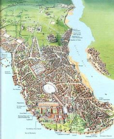 """Constantinople- """"The capital of the eastern Roman Empire; Capital of the Byzantine and ottoman Empires, now called Istanbul"""" Fantasy City, Fantasy Map, Roman History, European History, Ancient Rome, Ancient History, Ancient Map, Constantinople Map, Medieval"""