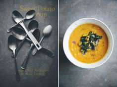 Sweet Potato & Red Lentil Soup with Aubergine & Kale Topping