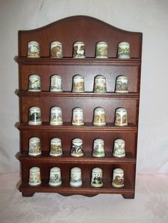 Franklin Mint Baby Animals Thimble Collection Complete with Display Shelf 1981