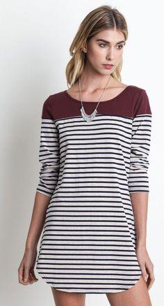 Color Block Striped T-Shirt Dress