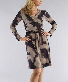 Taupe & Black Wrap Dress - Women & Plus by Bigio Collection #zulily #zulilyfinds