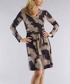 Taupe & Black Wrap Dress - Women & Plus by Bigio Collection #zulily #zulilyfinds