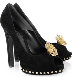The Alexander McQueen Skull-Embellished Pumps are the perfect glitzy Halloween costume accessories to accompany your black lacy witch's dress or dark, evil queen outfit. Black Suede Pumps, Suede Shoes, Skull Heels, Or Noir, Alexander Mcqueen Dresses, Halloween Costume Accessories, Halloween Shoes, Thing 1, Cinderella