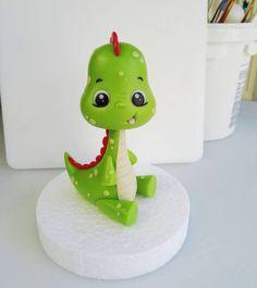 Baby Dino by Sugar Creatures Box Dinosaur Cake Toppers, Dino Cake, Dinosaur Birthday Cakes, Fondant Cake Toppers, Fondant Cupcakes, Cupcake Toppers, Cake Topper Tutorial, Fondant Tutorial, Baby Dino