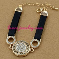 Unique alloy watch chain with rhinestone beads decoration