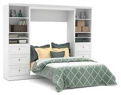 Full Wall Bed and Storage Units with 3 Drawers in White [ID 3183564]