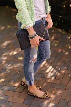 'Seersucker + Saddles' sports a tweed jacket, black leather clutch and the Stella & Dot Tempest Bracelet