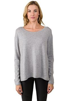 JENNIE LIU Womens 100 Cashmere Long Sleeve High Low SideSlit Crewneck Sweater LtGrey S ** Check this awesome product by going to the link at the image.