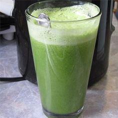 Healthy Green Juice//Original recipe makes 2 servingsChange Servings  2 green apples, halved  4 stalks celery, leaves removed  1 cucumber  6 leaves kale  1/2 lemon, peeled  1 (1 inch) piece fresh ginger