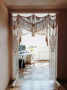 Large bohemian wedding backdrop made of natural cotton rope to fit the magic of ceremony decor. Macrame Curtain, Boho Curtains, Cortina Boho, Rideaux Boho, The Loft, Deco Boheme Chic, Macrame Design, Boho Living Room, Bedroom Decor