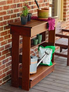 Build Your Own Potting Bench / Patio Bar --> http://www.hgtvgardens.com/hardscaping/build-a-patio-bar?soc=pinterest