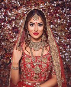 Asian Wedding Makeup, Bengali Bridal Makeup, Indian Makeup, Wedding Makeup Looks, Indian Bridal Fashion, Bridal Looks, Bridal Style, Arabic Makeup, Dulhan Makeup