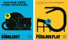 """Cuddlebot"" and ""Perilous Play"" covers for the annual Innovations issue of the NYTimes Magazine."