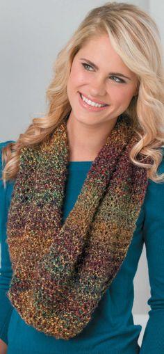 Loom knit multi-colored cowl.