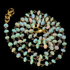 """27CRTS 3.5to4MM 24"""" ETHIOPIAN OPAL RONDELLE BEADS CHAIN NECKLACE OBI1520 #OPALBEADSINDIA"""