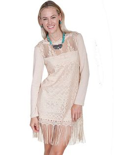 10ca8889e Scully Womens Natural Honey Creek Western Lace Dress